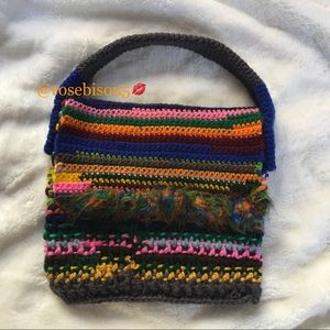 Handbags - ☮️Boho Fringe Rainbow Knit Minibag